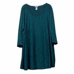 Catherine's green space dye 3/4 sleeve tunic top